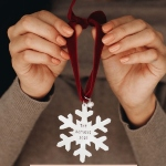 Classic Snowflake ornament is a keepsake. Customize it with a message of your choice. Perfect gift for Christmas