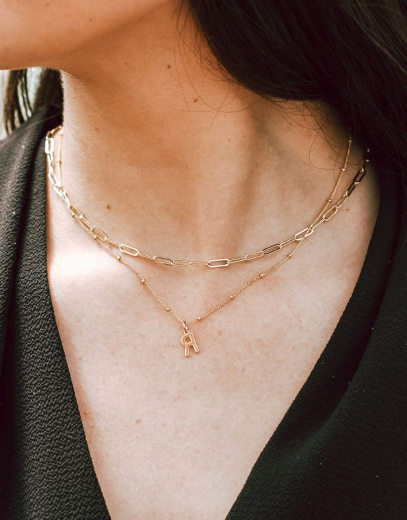Gold-paperclip-chain-layered