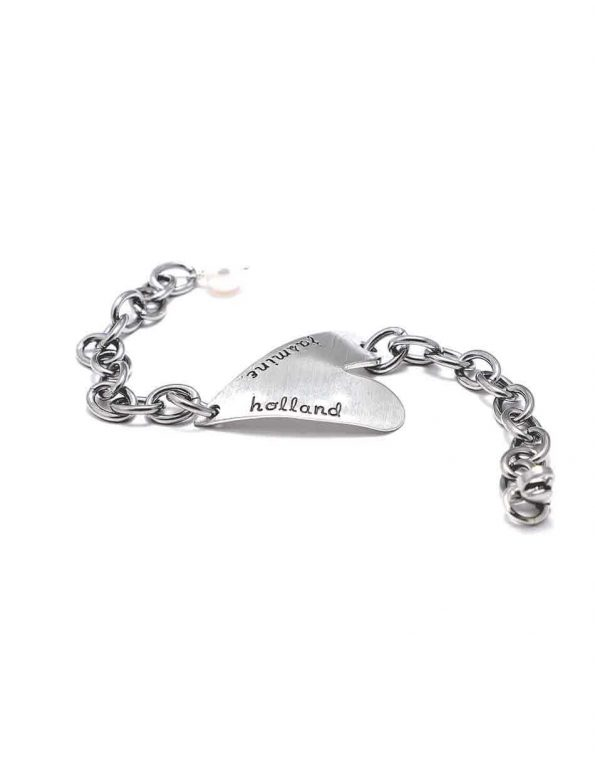 A fine pewter hand stamped bracelet for your loving wife, mom, or daughter. Customize with name, date or message