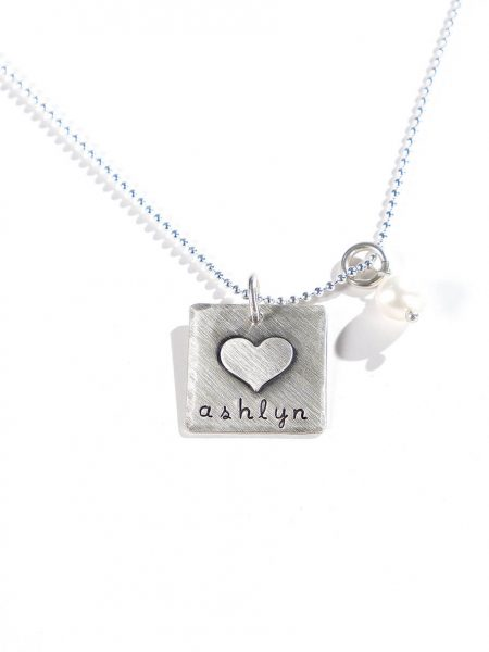 Hand stamped sterling silver square with a heart fused. Great gift for wife, mom, daughter, sister