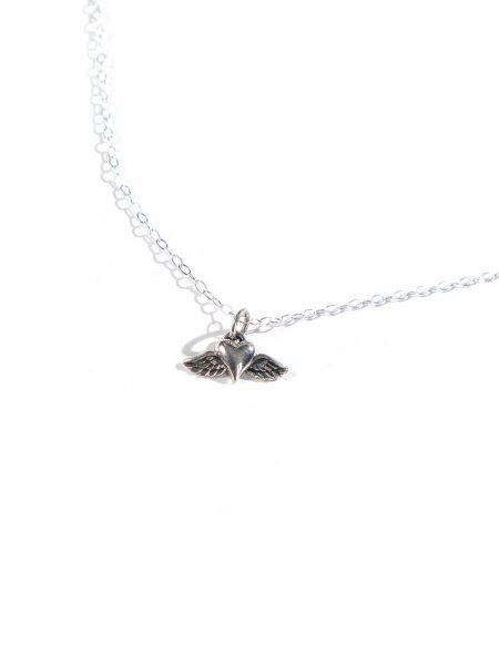 Sterling silver heart with wings, hung on a sterling silver dainty chain. Perfect gift for someone who just lost a loved one