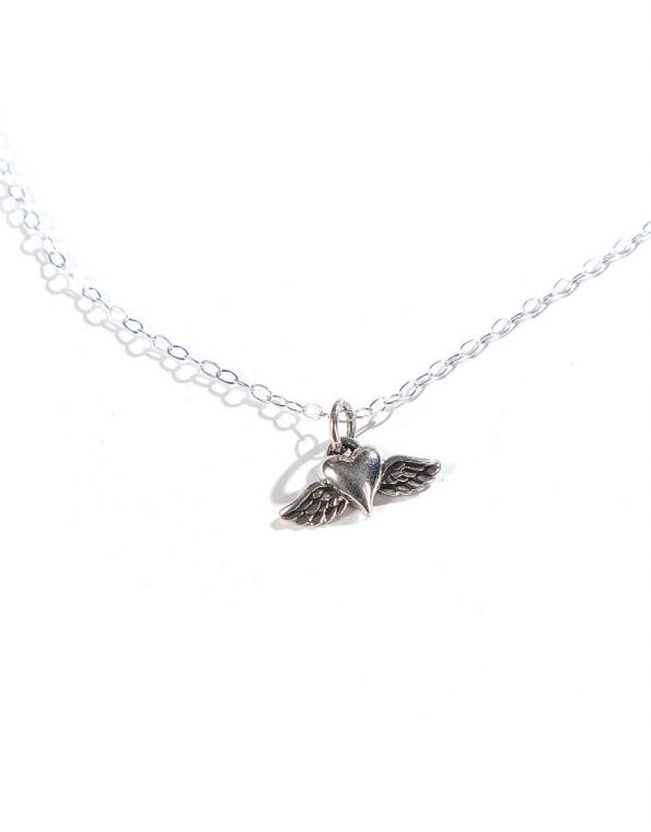 Sterling silver heart with wings, hung on a sterling silver dainty chain. Meaningful way to keep the memories of loved ones that aren't here with us