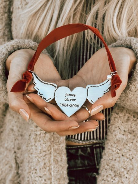 A meaningful way to keep the memories of loved ones. Cast in fine pewter, hung on a red velvet ribbon and topped with a freshwater pearl