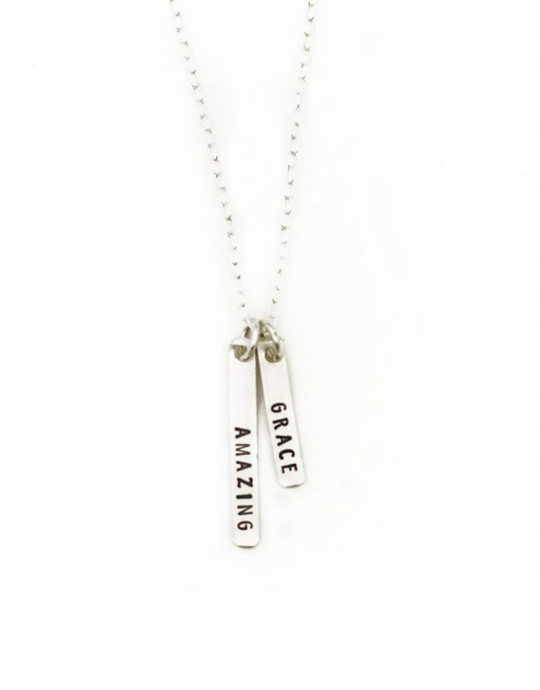 A beautiful sterling silver rectangle necklace engraved with Amazing Grace. Perfect gift for wife, mom, friend, boss