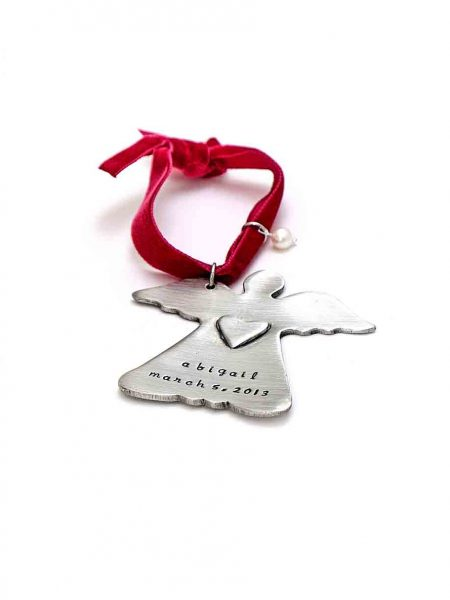 Perfect Christmas gift for a family or a kid. This angle ornament is hand stamped with name or messgae of your choice