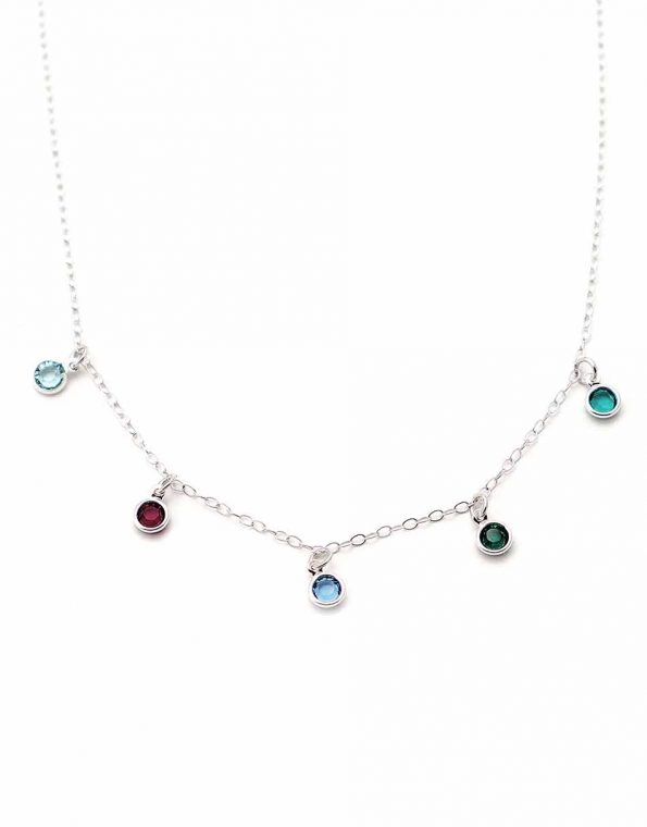 Swarovski stones hand-placed around the stunning sterling silver dainty chain. Choose one or more birthstones. Best jewelry for a mom