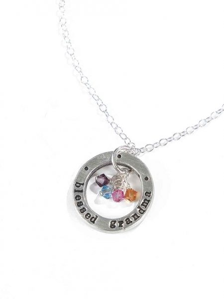 Best personalized necklace for grandma. Hand stamped sterling silver disc along with birthstones of grand children