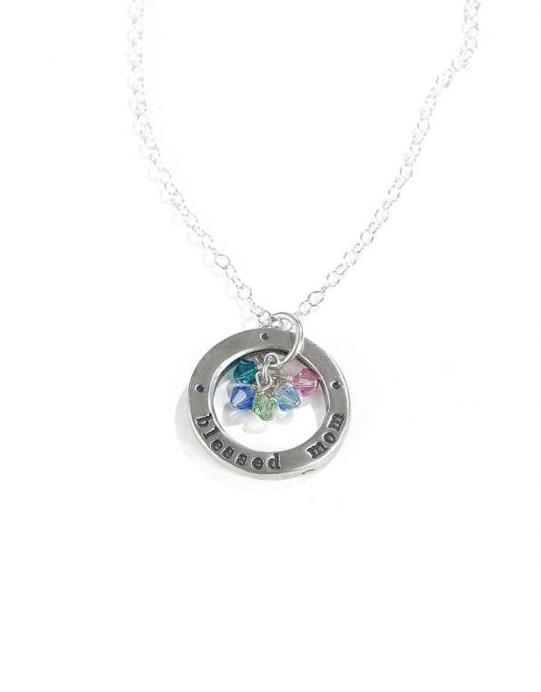 """Handmade washer hand casted in fine pewter and handstamped with """"blessed mom"""" along with birthstone of kids. Best personalized necklace for mom"""