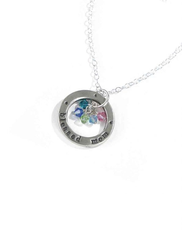 Blessed Mom With Birthstones Necklace