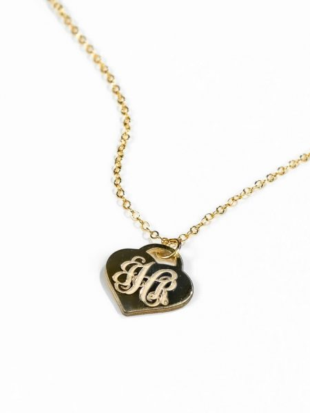 "Beautiful ""Tiffany"" style gold plated heart created with monogram. Add 3 initials of your choice. Personalized necklace for wife"