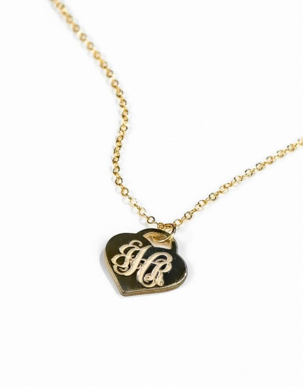Classic Heart Monogram (Gold) Necklace