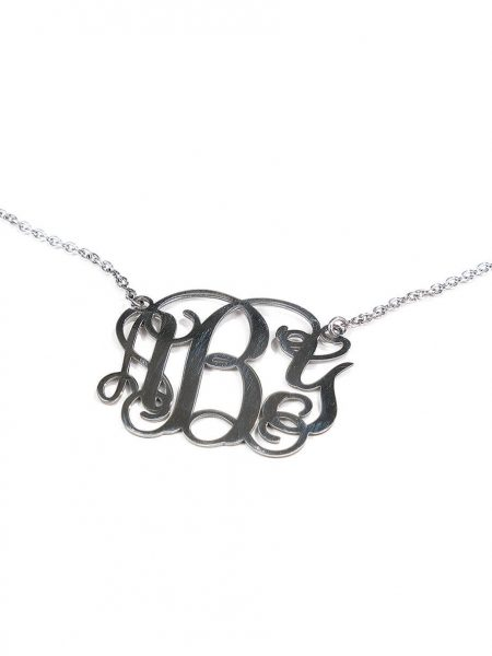 A sterling silver or gold-plated monogram charm created with Initials. Personalized necklace for spouse