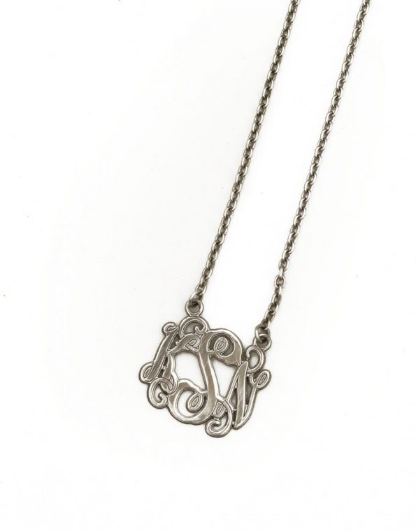 Monogram necklace personalized with initials in sterling silver or gold-plating. Great gift for grandma, mom, friend