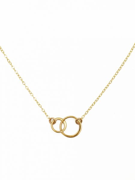 Gorgeous dainty necklace with interlocking gold circles is a classic everyday look. Perfect gift for couple, colleague, friend