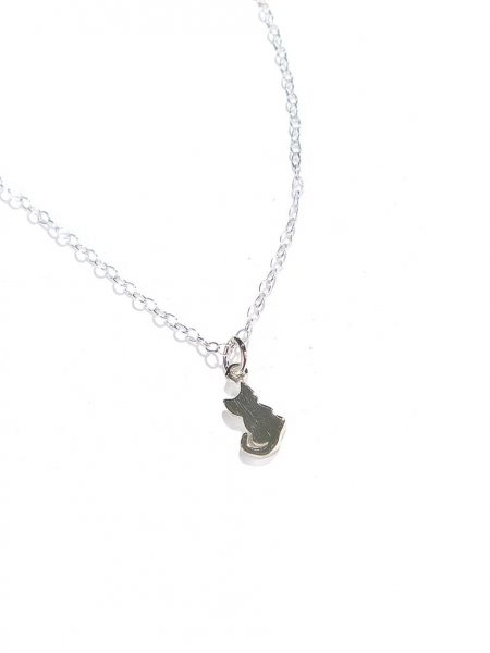 A cat made in sterling silver and hung on a sterling silver dainty chain. Perfect jewelry gift for a cat lover or for yourself.