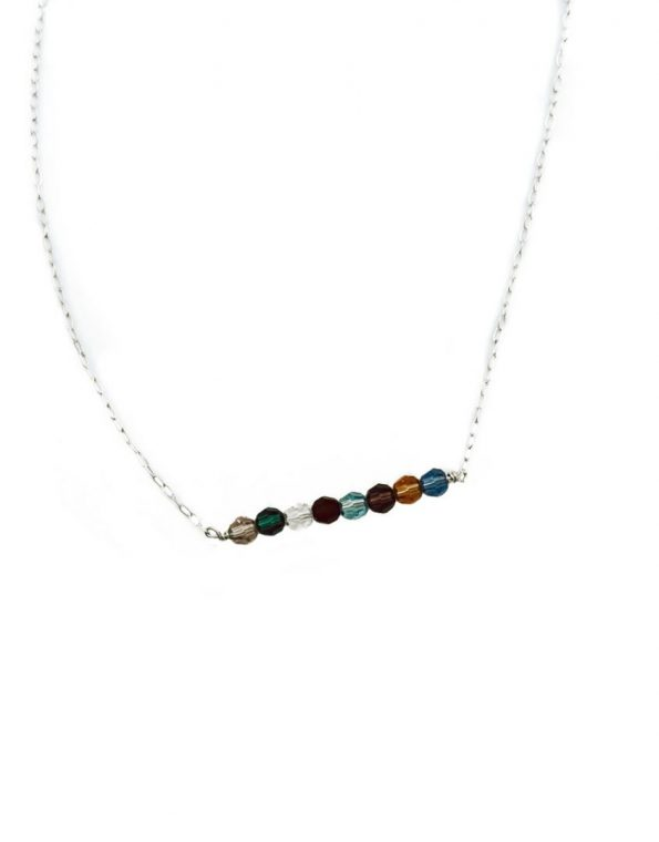 Birthstones Bar Necklace. Customize it by selecting the beautiful Swarovski crystals as well as their sequence. Perfect gift for a family