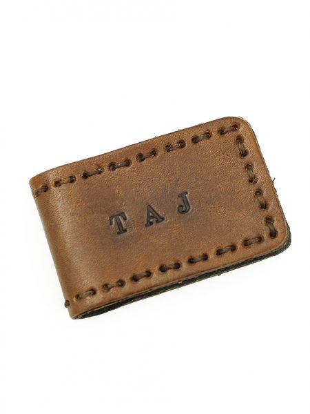 Rustic leather magnetic money clips hand stamped with custom message. Perfect gift for dad, brother, friend.