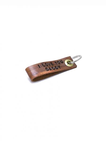 Leather keychain for dad, brother or husband. Hand stamped with name or message