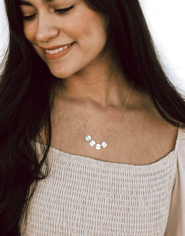 Dainty Connected Initial Disk Necklace