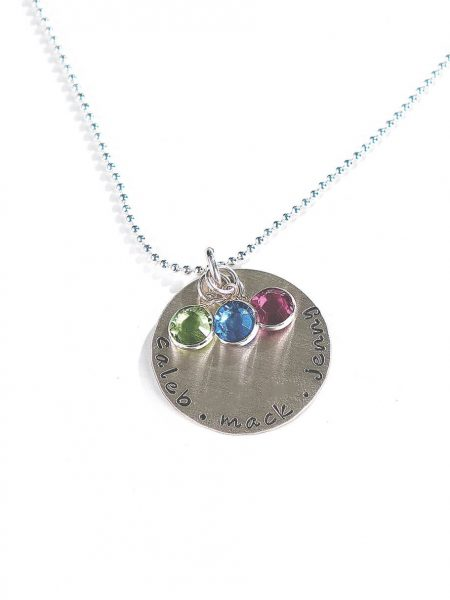 Hand stamped sterling siver disc along with a Swarovski birthstone crsytal. Perfect gift for mom, wife, grandma