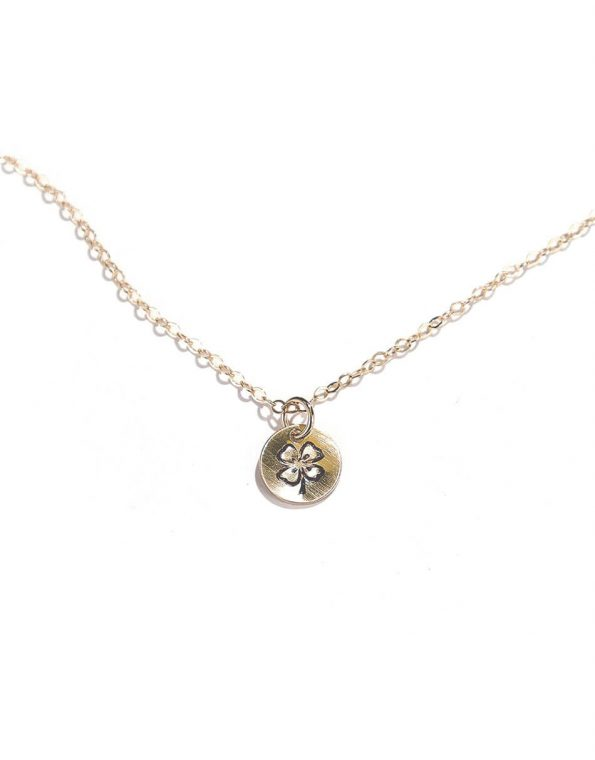 Hand stamped four leaf clover on sterling silver or gold-filled circle. Best jewelry gift for a sister, daughter or a friend
