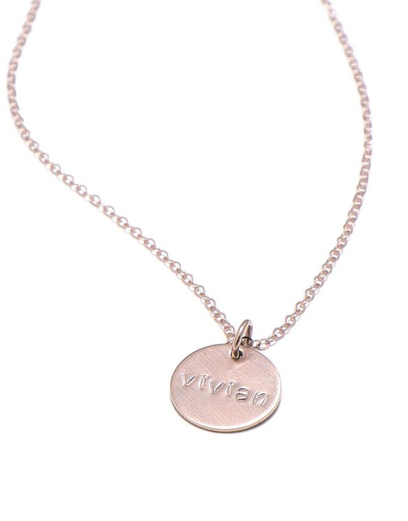 Dainty names in rose gold. Get that special someone's name engraved. Best gift for mom, sister, or friend.