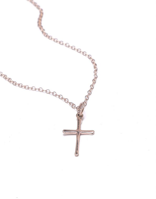 Rose gold cross hung on a beautiful dainty rose gold chain. Perfect gift for someone you love