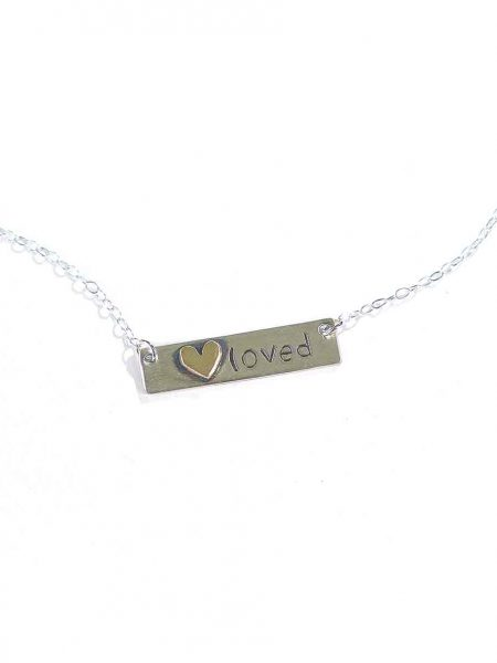 Best gift for your wife. Sterling silver rectangle with a sweet gold heart soldered on it and hung on a sterling silver dainty chain