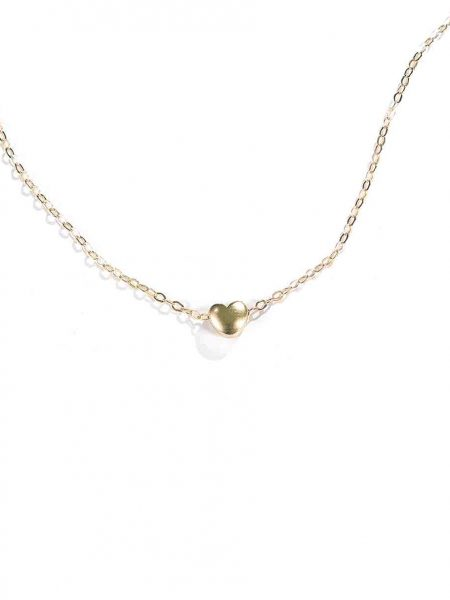 Perfect jewelry for your co-worker, sister-in-law, or best friend. A dainty gold-plated puffy heart hung on a gold-plated chain