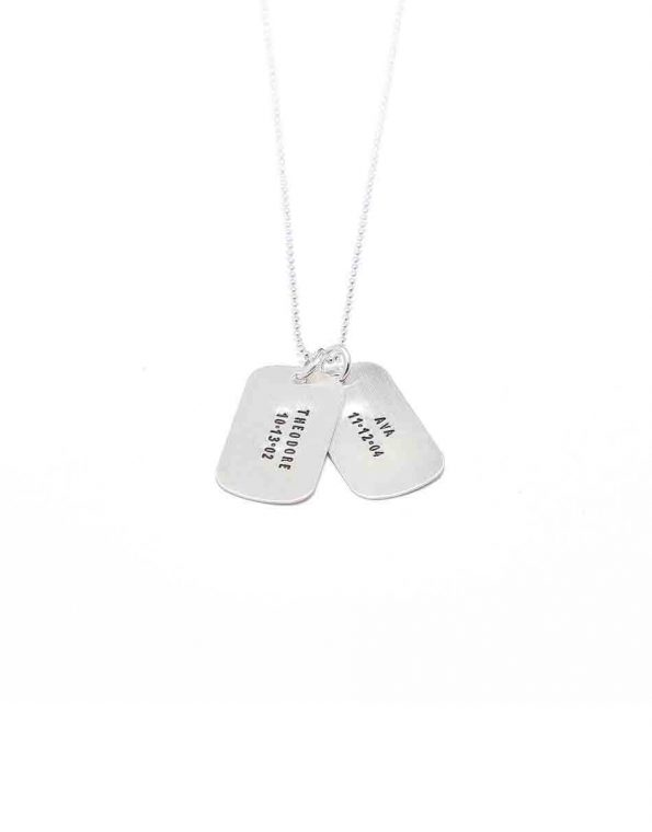 Hand stamped sturdy sterling silver tags. Perfect for your pets