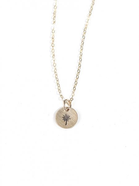 A dainty disc charm hung on sterling silver or a gold-filled chain. Perfect jewelry for a friend, sister, or daughter