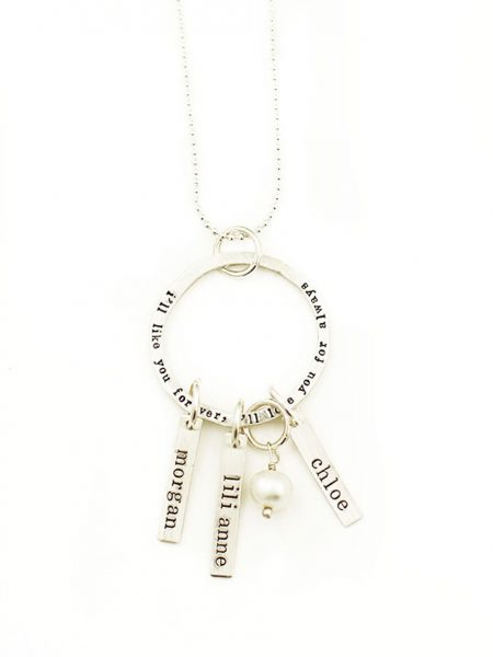 Sterling Silver Necklace with circle charm with engraved text 'I'll like you forever, Ill love you for always' and rectangle charms with names of children and family members. Necklace has a pearl attached.