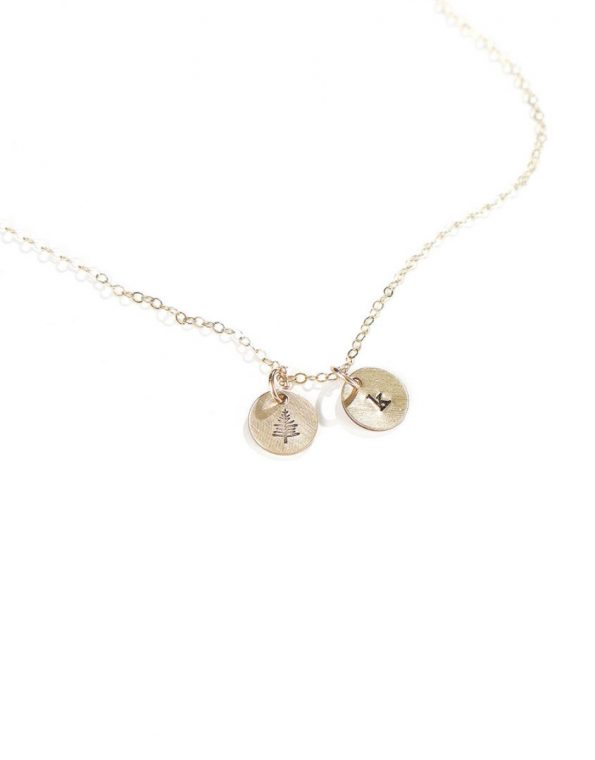 A gold-filled disc hung on a gold-filled dainty chain. Add an initial charm to it. Perfect gift for mom, grandma or wife