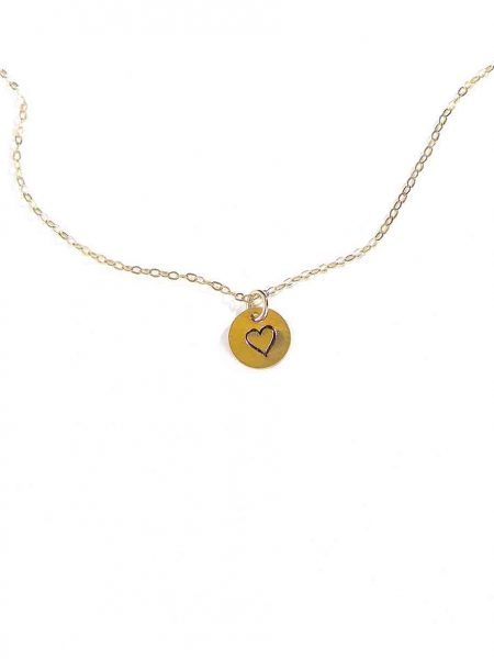 Beautiful gold-filled disc with a hand-stamped heart hung on a pretty dainty chain. A great reminder of eternal love in our lives.