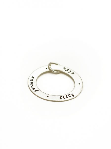 Sterling silver circle charm with names engraved. You can add children names, family names on the charm.