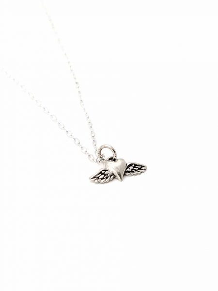 A sterling silver heart with a wing charm hung on a sterling silver dainty chain. Perfect necklace for sister, daughter or even yourself