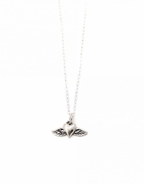 Beautiful sterling silver heart with wing charm hung on a gorgeous sterling silver dainty chain. Perfect necklace for girls all age
