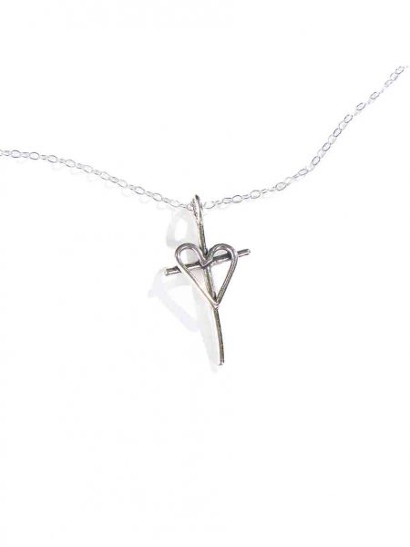 Made in sterling silver, a large cross with a heart charm make a beautiful faith necklace for all believers.