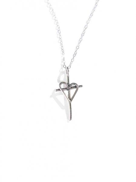 Large cross with a heart charm necklace made in sterling silver. A beautiful faith necklace for all believers.