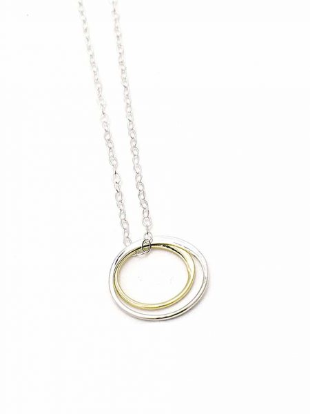 Best gift for soul sisters. Made with a sterling silver circle and a gold filled circle, hung on a gorgeous sterling silver dainty chain.