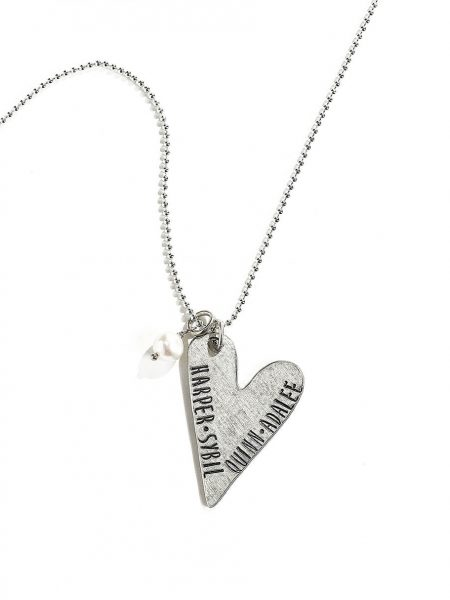 A fine pewter hand stamped necklace for your loving wife, mom, or daughter. Customize with name, date or message