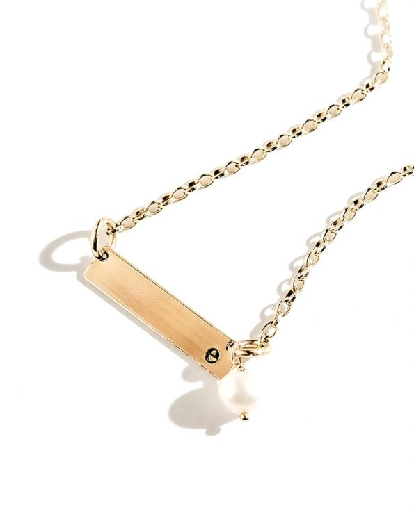 Initial hand stamped personalized necklace. Gold-filled rectangle bar with a freshwater pearl. Perfect gift for wife