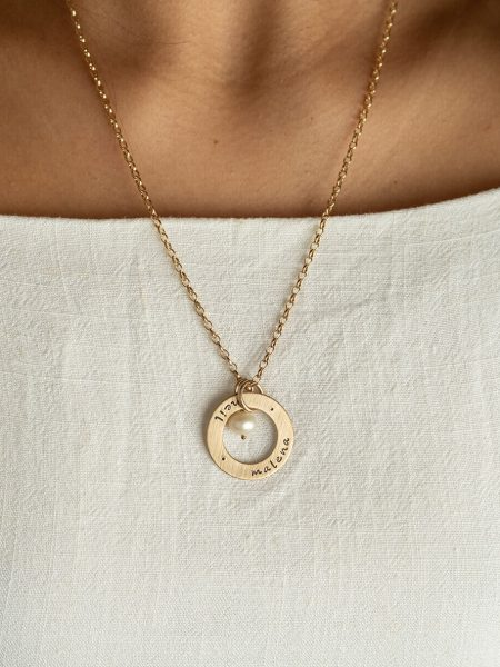 Personalized necklace with hand stamped names or dates on a gold-filled circle of love. Best gift for wife, mom