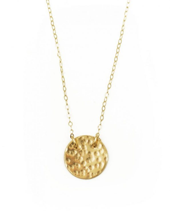 Dainty gold hammered circle necklace is a perfect gift for girls of all ages