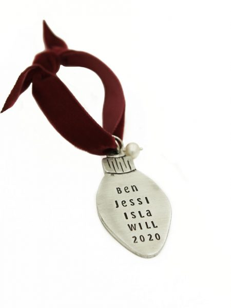 Classic christmas light ornament with engraved message. Perfect gift for couples, family or friends.