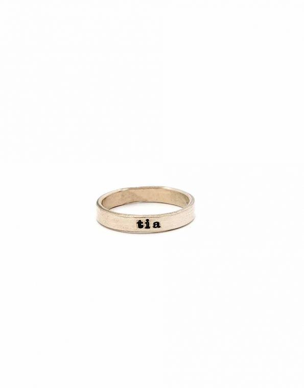 Name and Stone Stacking Ring Set – Gold
