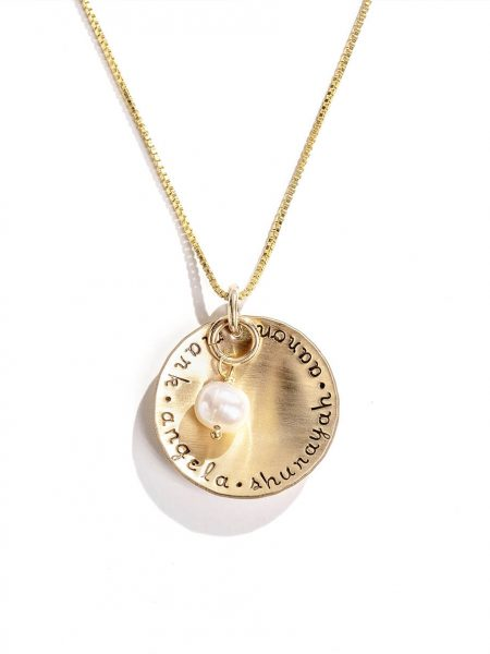 Gold-filled circle hand stamped with names. Personalize jewelry for your mom, wife, grandma