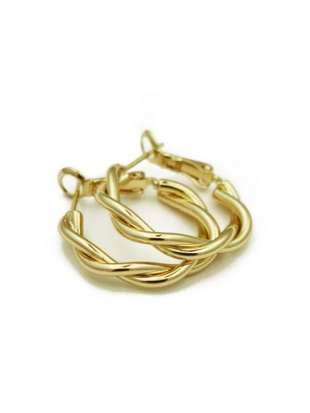 Gold twist hoops are made with copper and 14K gold. Perfect gift for your friends, sister or even yourself.