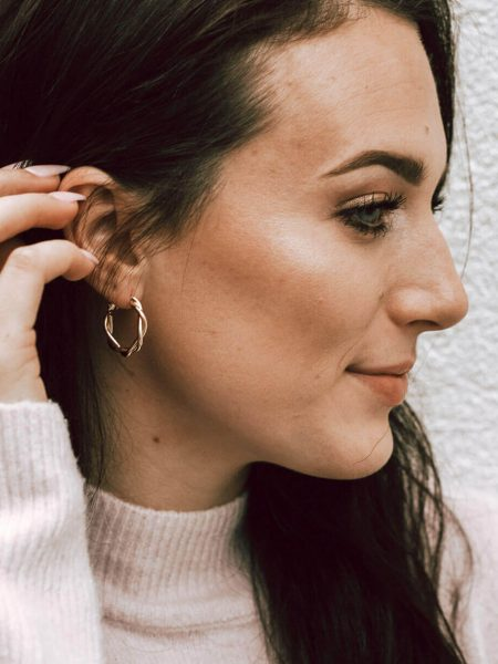 Gold Twist Hoops made with copper base and are 14K gold filled. Perfect earrings for besties, sisters, and sister in-laws