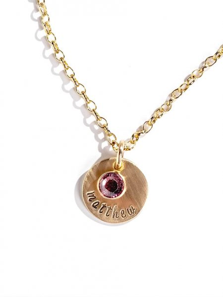 Dainty gold-filled disc with hand stamped name and a Swarovski birthstone crystal. Perfect gift for wife, mom